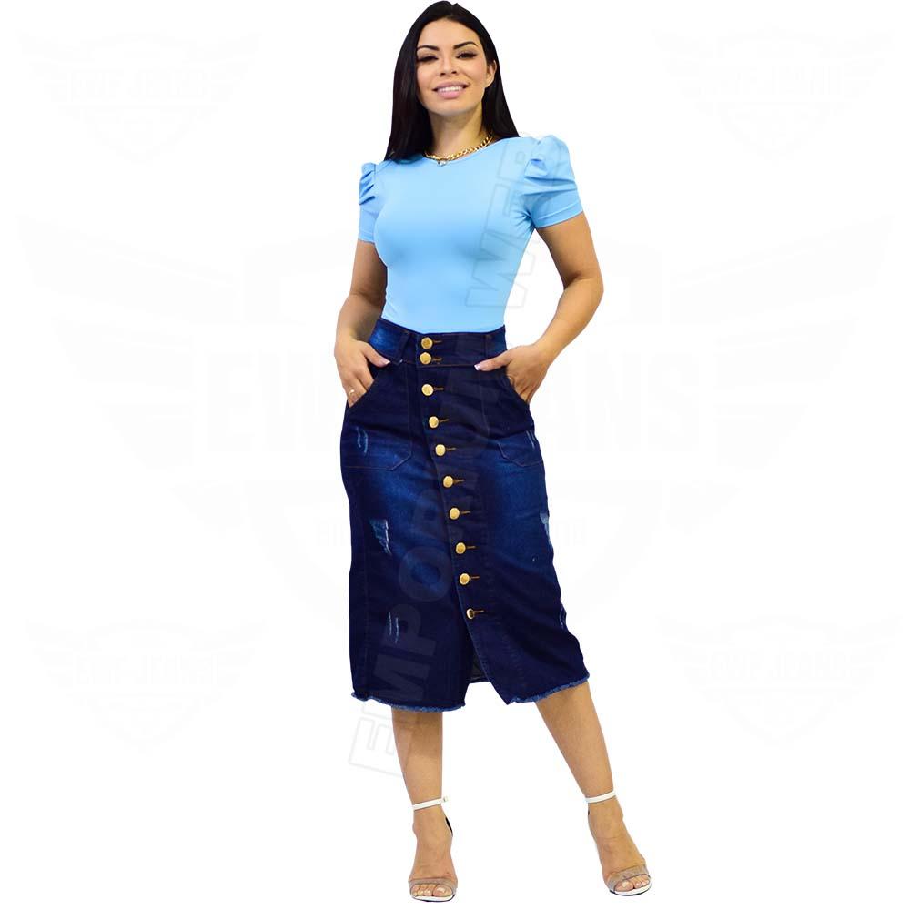 Saia Midi Jeans com botões frontal e elastano - EWF Jeans - Azul Escuro