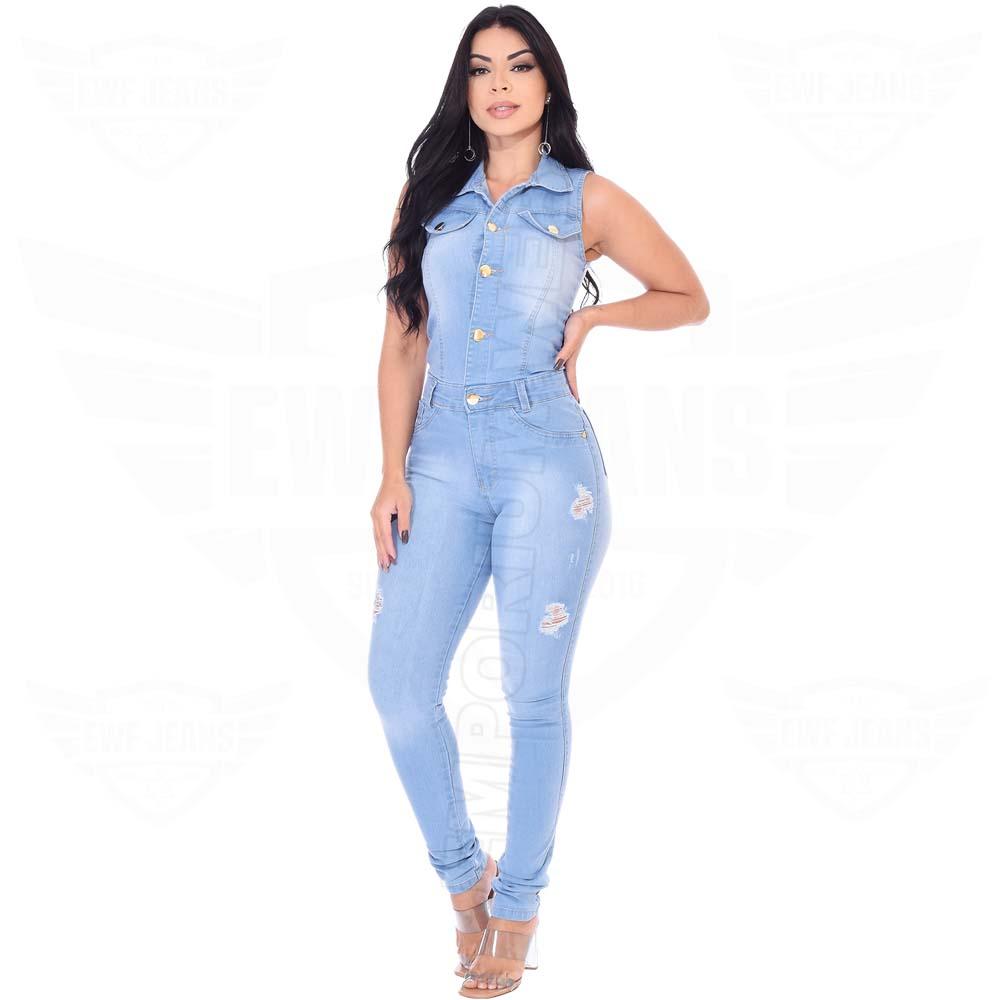 Macacão Jeans Longo Feminino Regata - EWF Jeans - Azul Claro