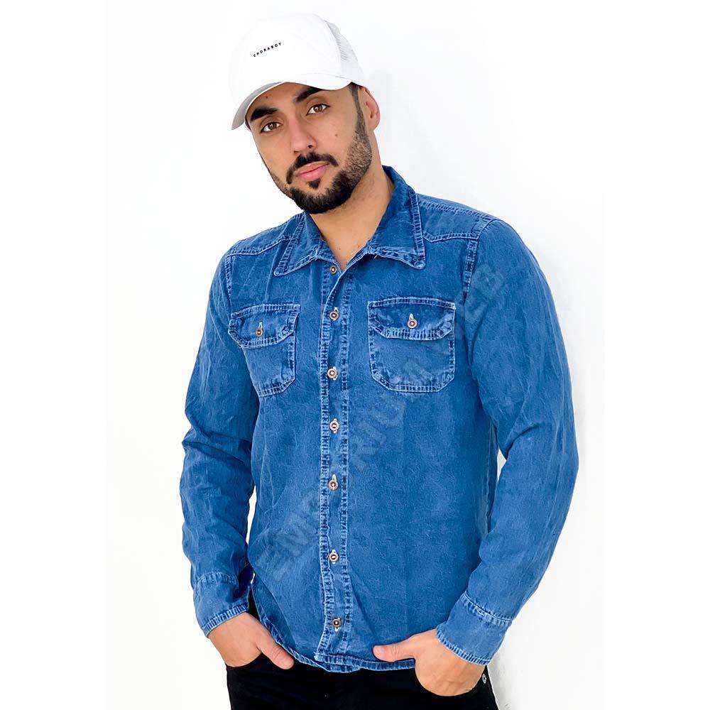 Camisa Jeans Masculina Manga Longa - EWF Jeans - Azul Médio