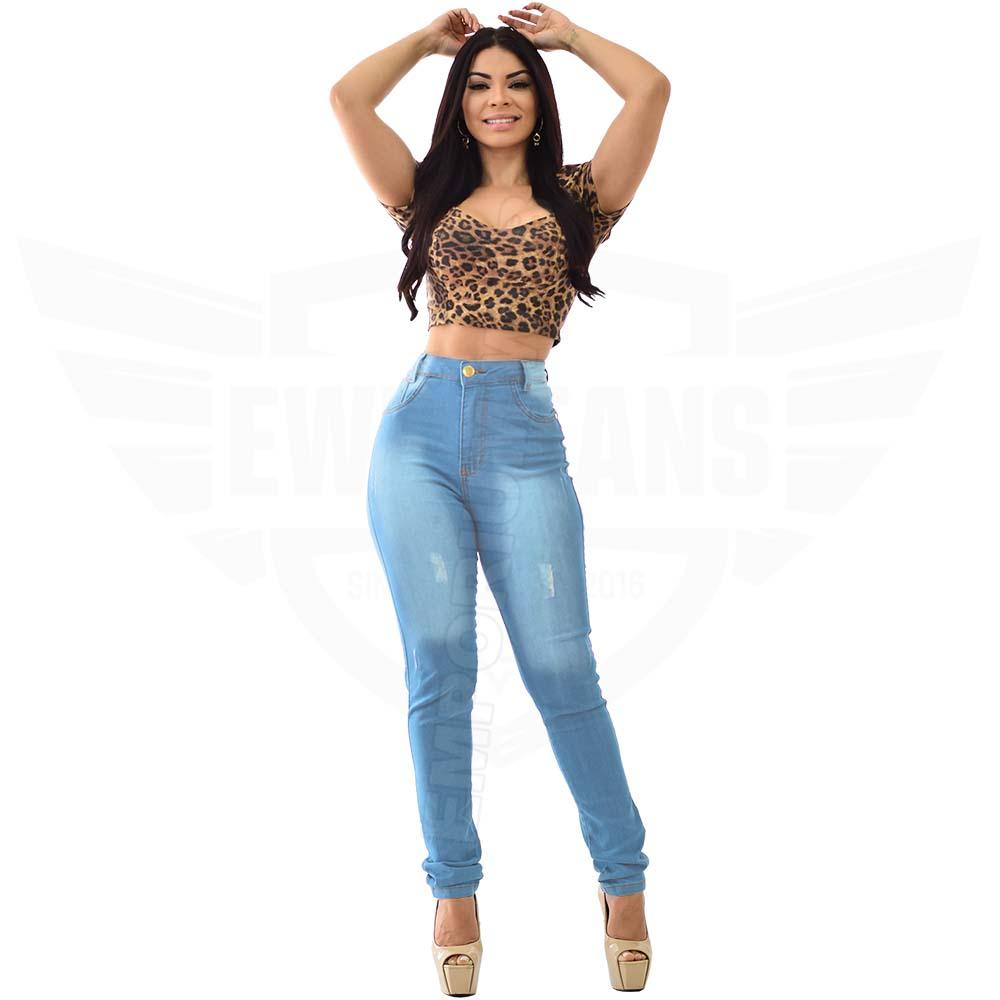 Calça Jeans Feminina Hot Pants Skinny Cintura Alta com Mega Elastano - Azul Claro