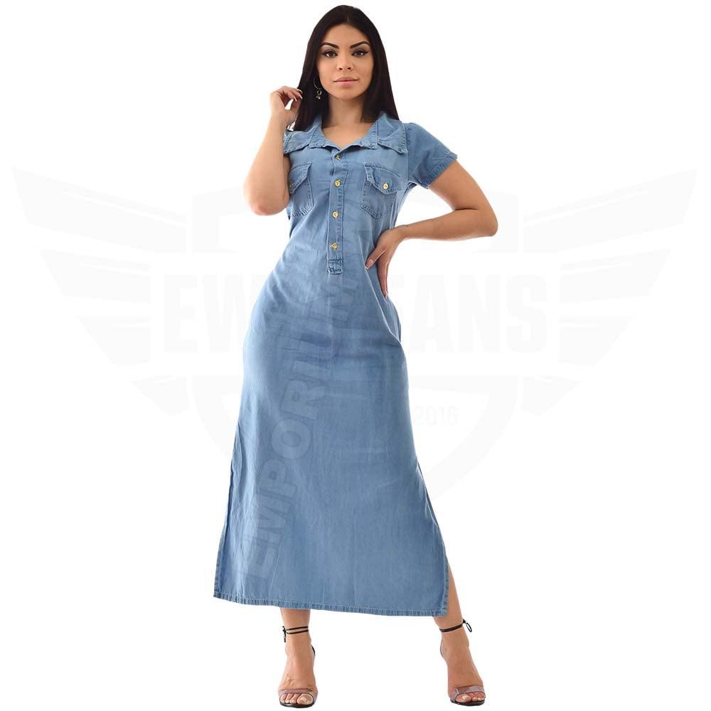 Vestido Longo Jeans Manga Curta - EWF Jeans - Azul Claro