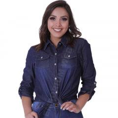 Camisa Jeans Feminina Manga Longa – EWF Jeans - Azul Escuro