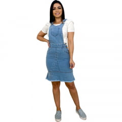 Jardineira Midi Jeans Salopete Moda Evangélica - EWF Jeans - Azul Claro