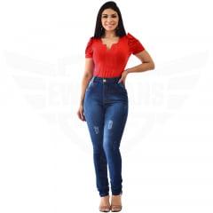 Calça Jeans Feminina Hot Pants Skinny Cintura Alta com Mega Elastano - EWF Jeans - Azul Escuro