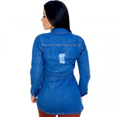 Jaqueta Parka Jeans Destroyed com 4 Bolsos - EWF Jeans - Azul Escuro