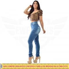 Calça Jeans Feminina Hot Pants Skinny Cintura Alta com Mega Elastano - Azul Médio