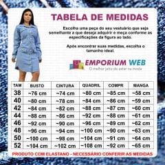 Vestido Midi Chemise Jeans Manga Longa com 4 Bolsos - EWF Jeans - Azul Claro