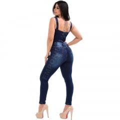 Macacão Jardineira Feminina Jeans Longo Clássica – EWF Jeans - Azul Escuro