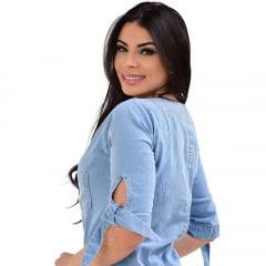 Vestido Jeans Midi com lacinho no braço - EWF Jeans - Azul Claro