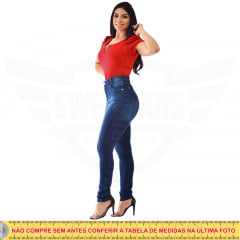 Calça Jeans Feminina Hot Pants Skinny Cintura Alta com Mega Elastano - Azul Escuro