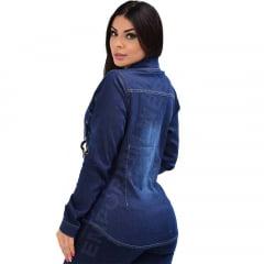 Camisa Jeans Feminina Manga Longa - EWF Jeans - Azul Escuro