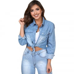 Camisa Jeans Feminina Manga Longa – EWF Jeans - Azul Claro