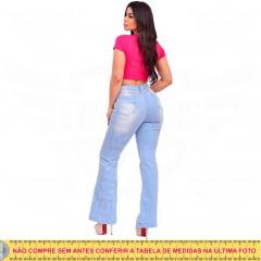 Calça Flare Jeans Feminina Levanta Empina / Bumbum Hot Pants Cintura Alta - EWF Jeans - Azul Claro