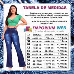 Calça Flare Jeans Feminina Levanta Empina / Bumbum Hot Pants Cintura Alta - EWF Jeans - Azul Escuro