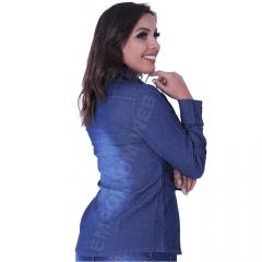Camisa Jeans Feminina Manga Longa Azul Escuro