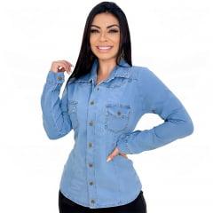 Camisa Jeans Feminina Manga Longa – EWF Jeans – Azul Claro