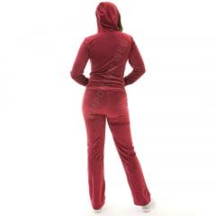 Conjunto Inverno Adulto Feminino Plush / Veludo (Calça + Agasalho) Vermelho Escuro