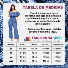 Macacão Jeans Feminino com manga Ciganinha - EWF Jeans - Azul Claro