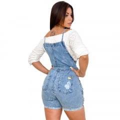 Macaquinho Curto Jardineira Feminina Jeans retrô – EWF Jeans