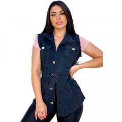 Max Colete Jeans Feminino Destroyed / Desfiado / Rasgado - Preto