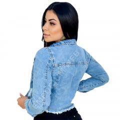 Jaqueta Jeans Feminina Curta Cropped Destroyed - EWF Jeans - Azul Claro