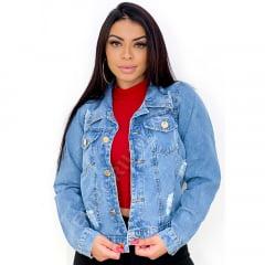 Jaqueta Jeans Feminina Curta Destroyed - EWF - Jeans Azul Claro
