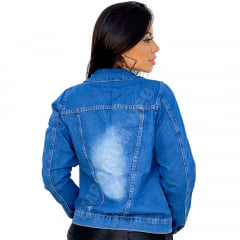 Jaqueta Jeans Feminina Curta Destroyed EWF Jeans Azul Escuro