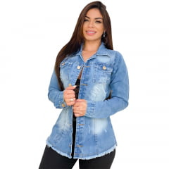 Max Jaqueta Jeans Feminino Destroyed / Desfiado / Rasgado - Azul Claro