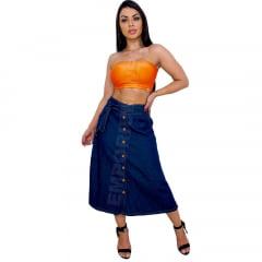 Saia Jeans Midi com botões Frontal com cinto Azul escuro