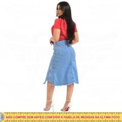 Saia Midi Jeans Destroyed com rasgo Inferior - EWF Jeans - Azul Claro