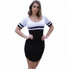 vestido feminino curto com manga curta preto
