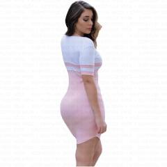 vestido feminino curto com manga curta rosa
