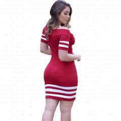 vestido tubinho curto com manga curta vermelho