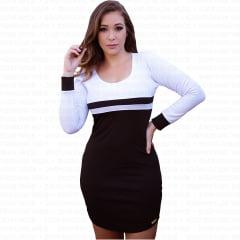 vestido feminino curto com manga longa preto