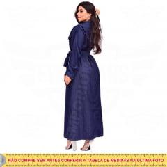 Vestido Longo Jeans Manga Longa Botões 4 Bolsos com cinto - EWF Jeans - Azul Escuro
