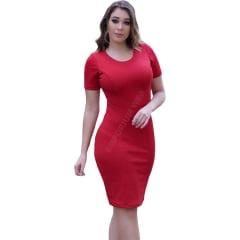 Vestido Midi Tubinho Manga Curta Vermelho
