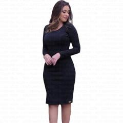 vestido midi tubinho com manga longa preto