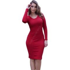 Vestido Midi Tubinho Manga Longa Vermelho