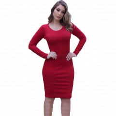 vestido midi tubinho com manga longa vermelho
