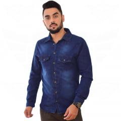 Camisa Jeans Masculina Manga Longa - EWF Jeans - Azul Escuro