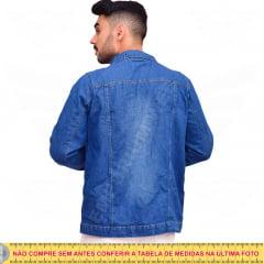 Jaqueta Jeans Masculina Destroyed (Rasgada) - EWF Jeans - Azul Escuro